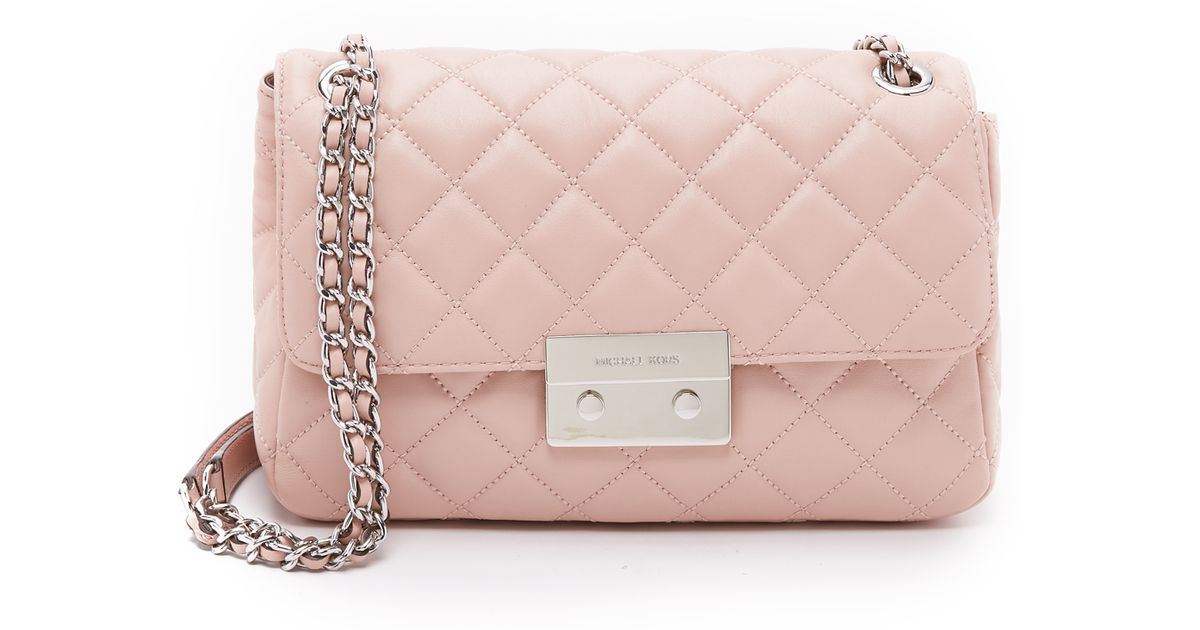 0b68bdcb8f08ed ... free shipping michael michael kors sloan large chain shoulder bag  ballet in pink lyst 7eb2f 17779