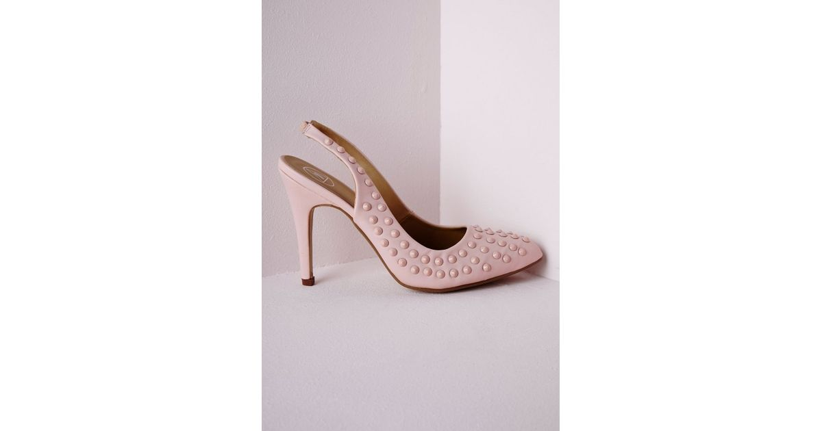 fb375c80a0 Lyst - Missguided Studded Sling Back Court Shoes Baby Pink in Pink
