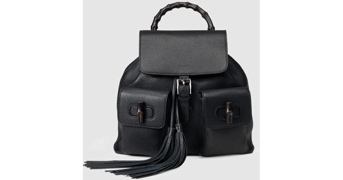 0fb37add381 Lyst - Gucci Bamboo Leather Backpack in Black