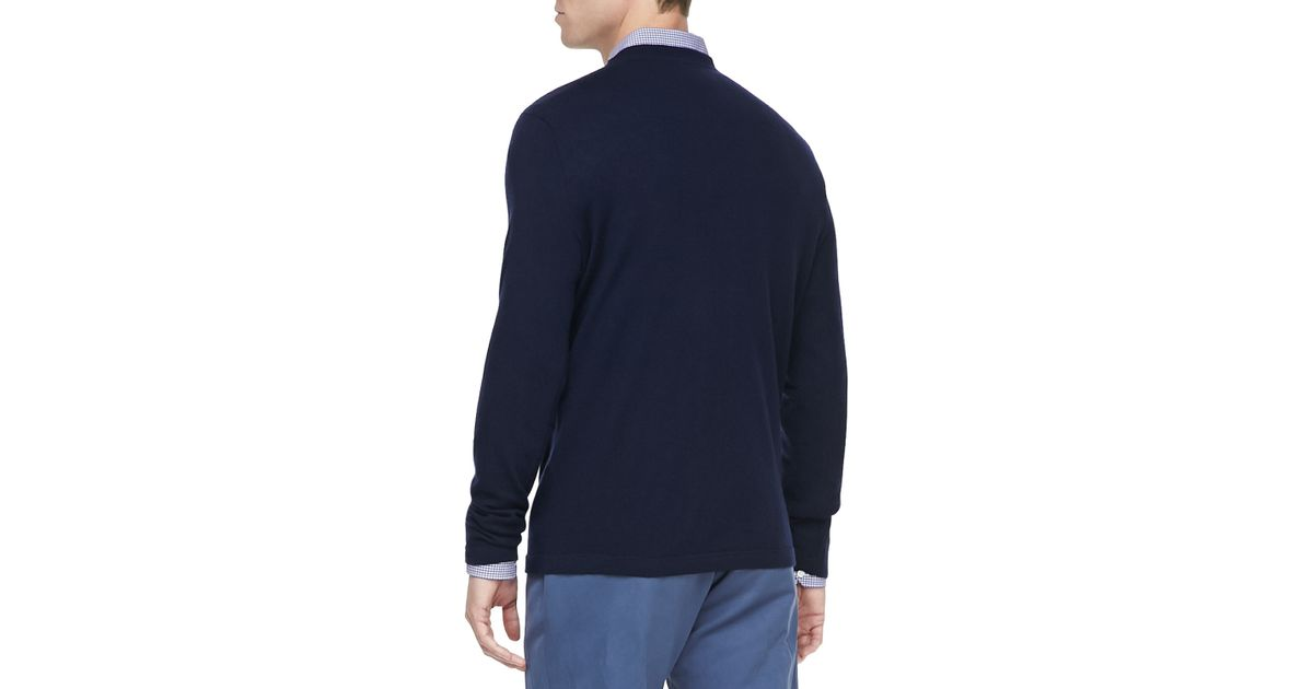 c051e922d Lyst - Vince Cashmere Crewneck Pullover Sweater in Blue for Men