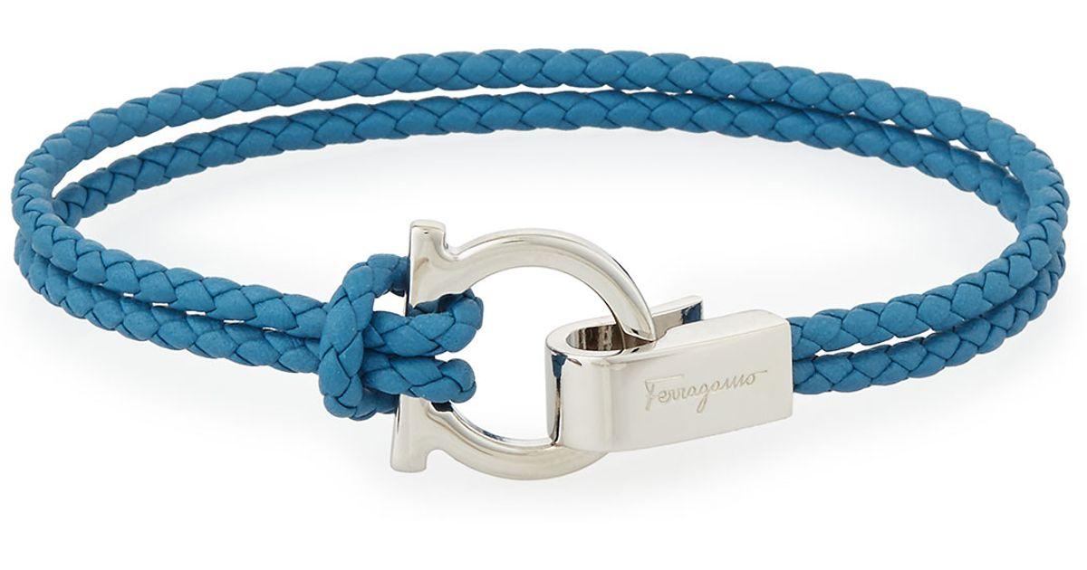 Lyst Ferragamo Men S Braided Leather Gancini Bracelet In Blue For Men