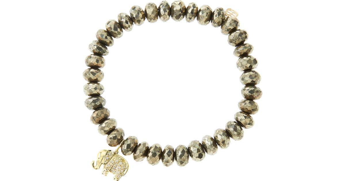 Sydney Evan 8mm Champagne Pyrite Beaded Bracelet with Diamond Double Heart Charm VGSjhh2H6