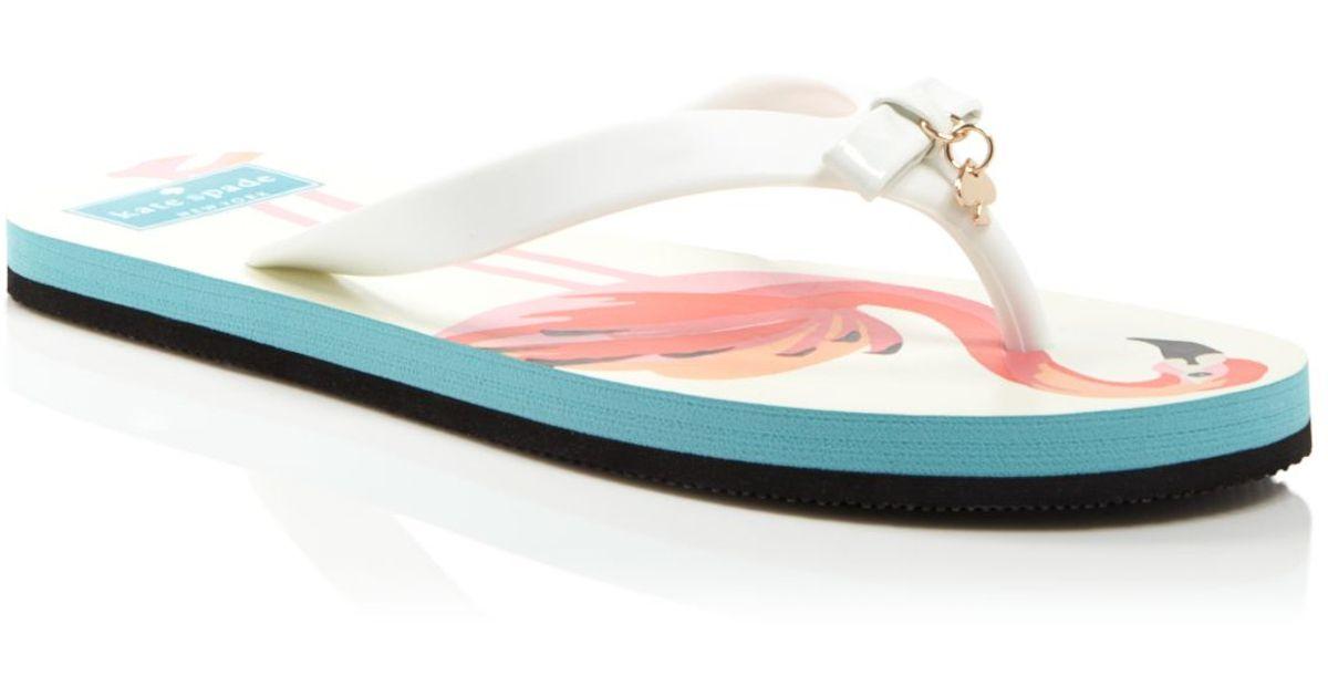 96635f3e051c Lyst - Kate Spade Flip Flop Sandals - Fifi Printed Flamingo in White