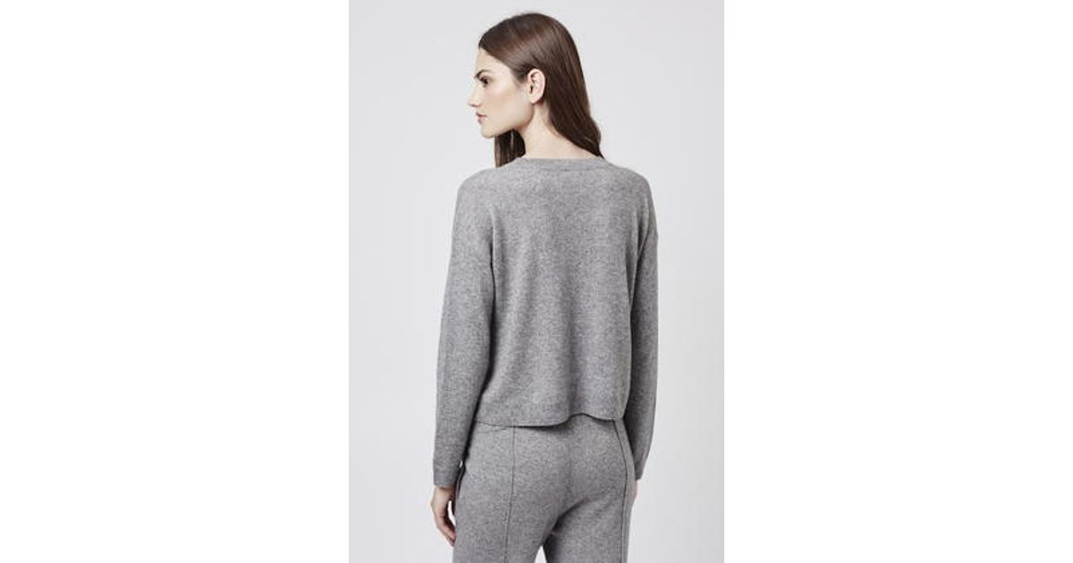 d7a2f440d50 Lyst - TOPSHOP Pure Boucle Cashmere Sweater in Gray