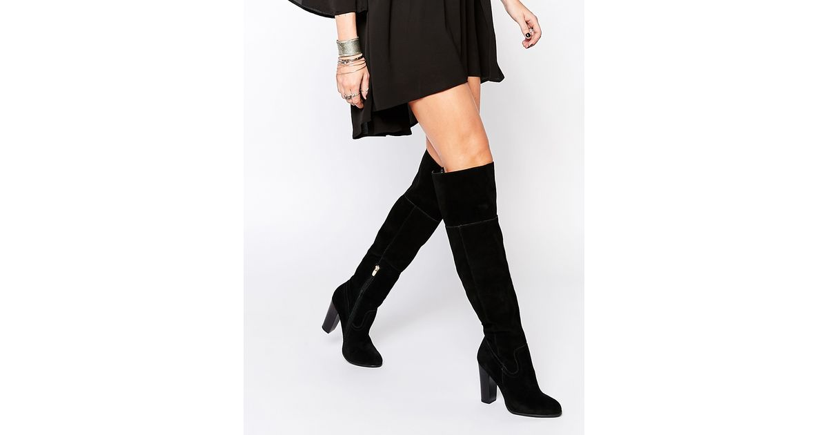 7f5bea11745 Lyst - ALDO Bove Black Suede Block Heeled Over The Knee Boots in Black