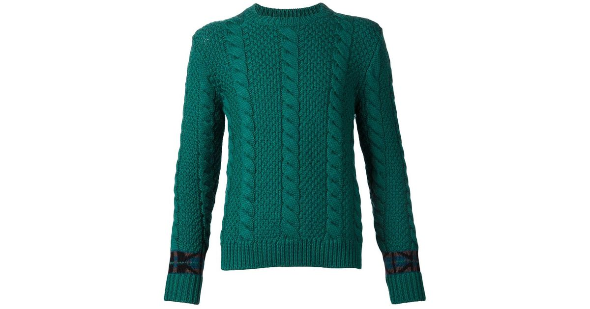 Lyst Umit Benan Cable Knit Sweater In Green For Men