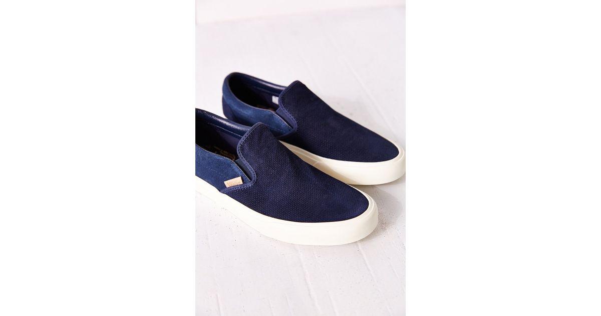 8736d464b1 Lyst - Vans Classic Knit Suede Slip-on Women s Sneaker in Blue