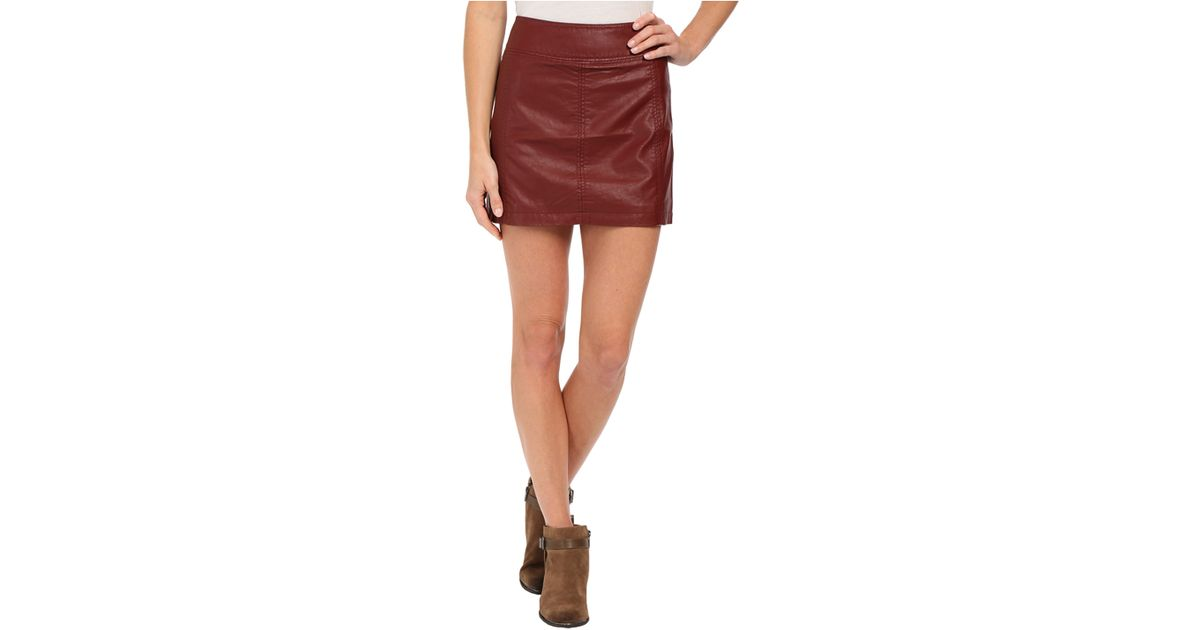 Free people Zip To It Vegan Leather Mini Skirt in Purple | Lyst