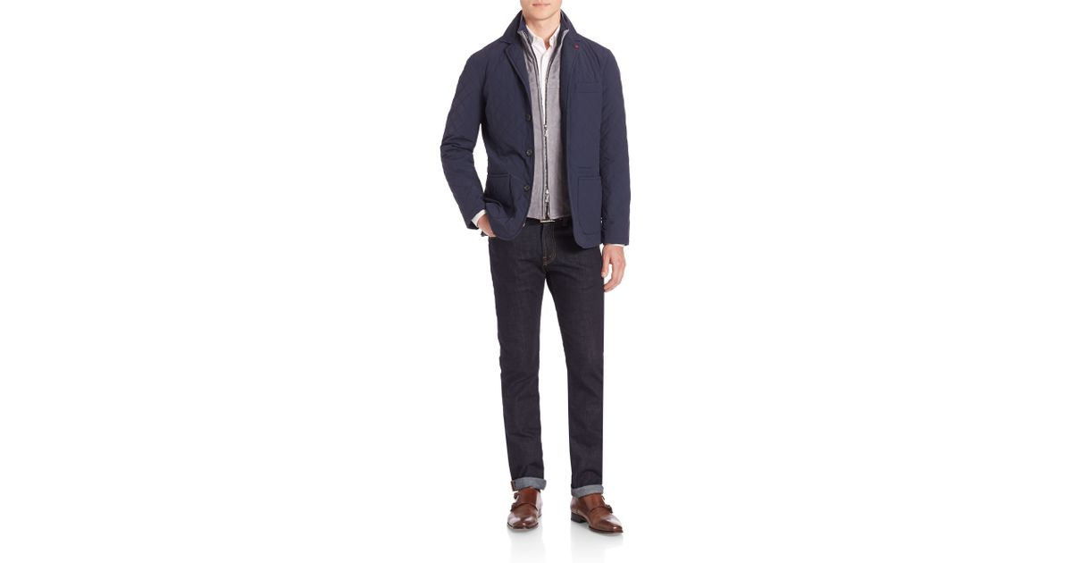 Lyst Isaia Quilted Shirt Jacket In Blue For Men