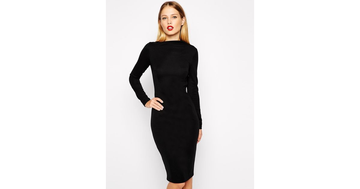 a69bbe8cb1e ASOS Pencil Dress With Asymmetric Neck And Long Sleeves in Black - Lyst