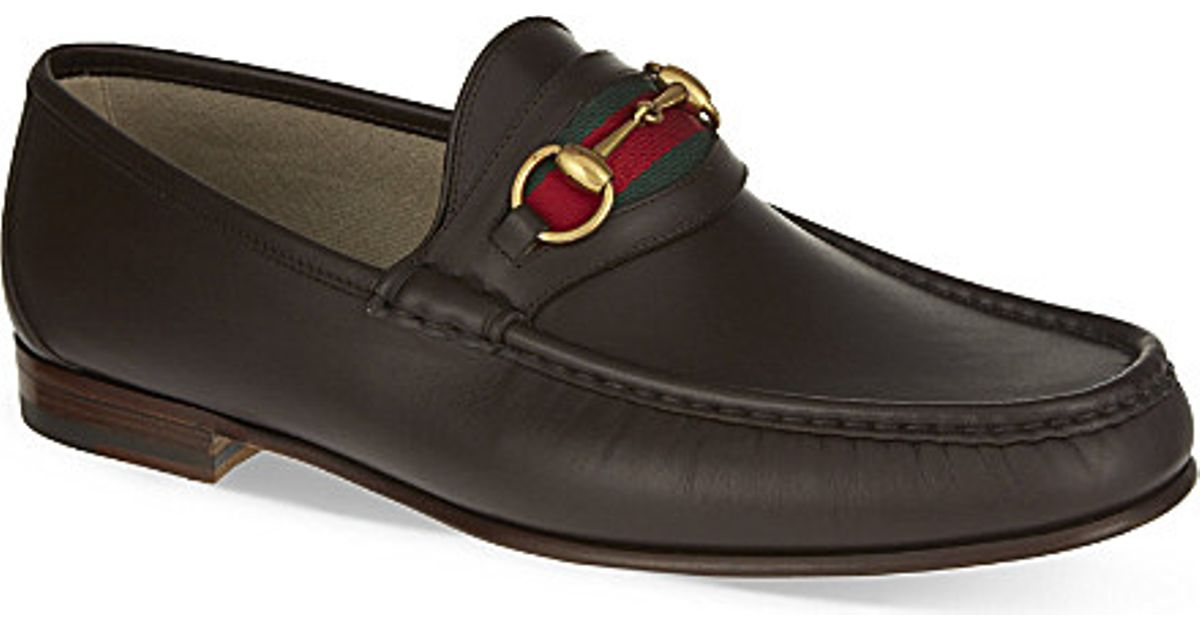 692aedc93fb Lyst - Gucci Classic Horsebit Leather Loafers in Brown for Men