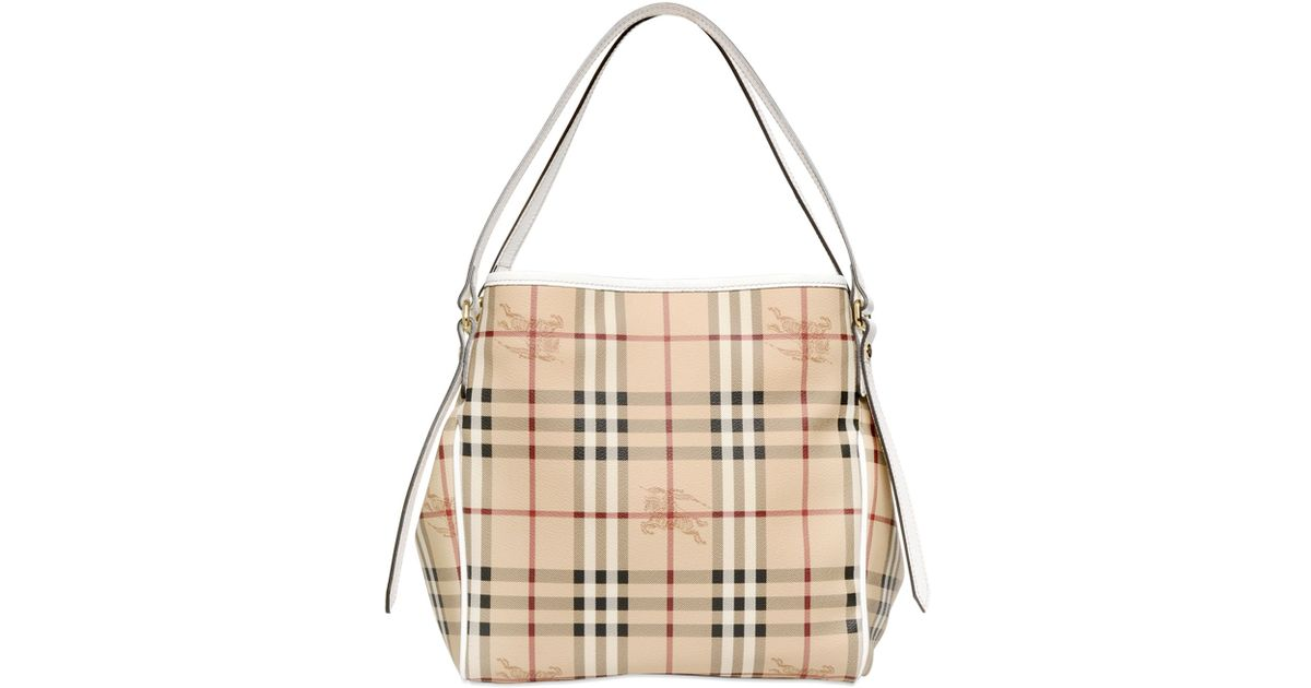 3bda3d4d4f16 Lyst - Burberry Small Canterbury Haymarket Bag in White