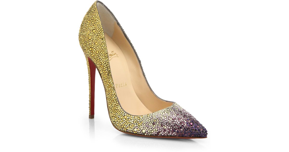 3225558ddff Lyst - Christian Louboutin So Kate Ombré Embellished Leather Pumps in Yellow