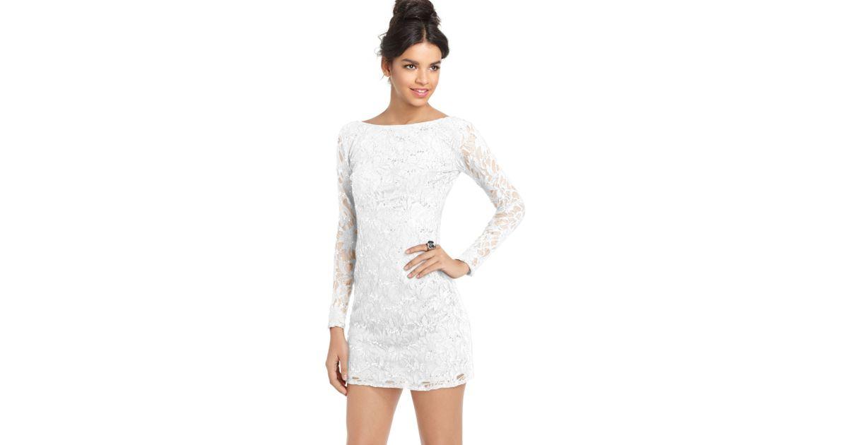 d19def396c Lyst - Jump Juniors Lace Sequin Mini Dress in White