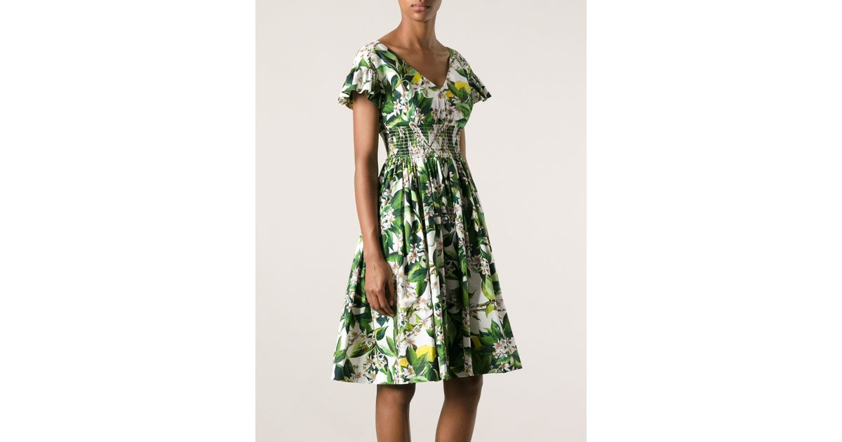 5cfe9cff066 Lyst - Dolce   Gabbana Floral Print Dress in Green