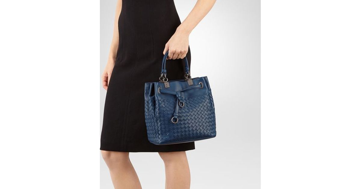 31d3d6041f1a Lyst - Bottega Veneta Bucket Bag In Pacific Intrecciato Nappa in Blue