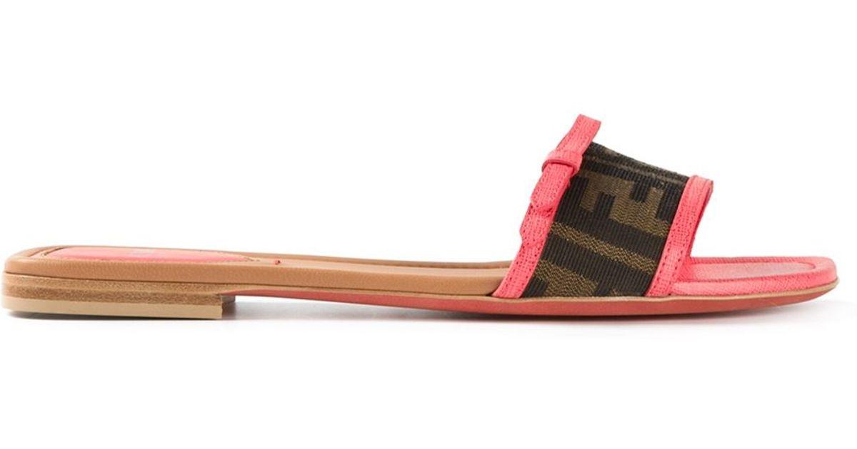 39db5a0114c82 Lyst - Fendi FF Logo Flip-Flops in Brown