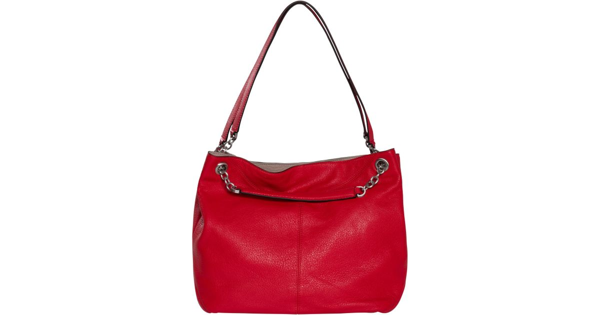 cff145eee Calvin Klein Mia Chain Saffiano Leather Tote Bag in Red - Lyst