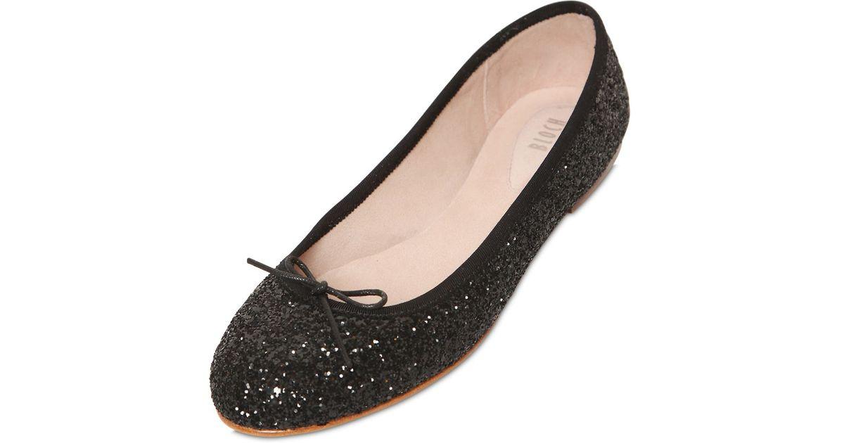 e35954bc017 Lyst - Bloch Eloise Glitter Ballerina Flats in Black