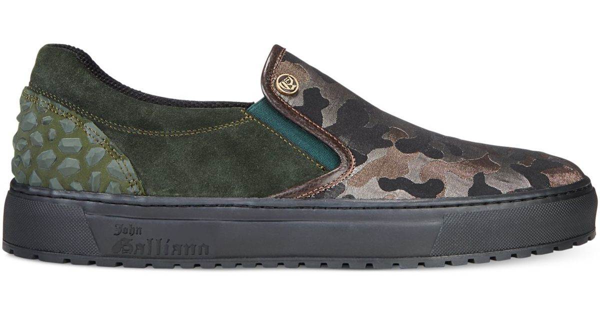 John Galliano Camo Athletic Slip On Sneakers In Green For