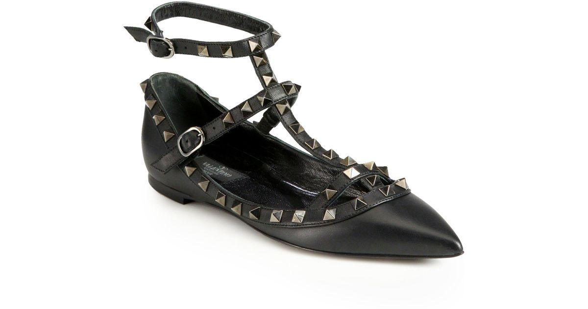 9975ae2d0eeba Lyst - Valentino Noir Rockstud Leather Cage Flats in Metallic
