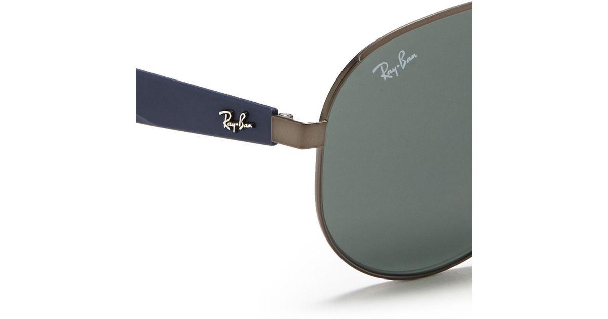 Lyst - Ray-Ban Titanium Frame Plastic Temple Aviator Sunglasses in Gray
