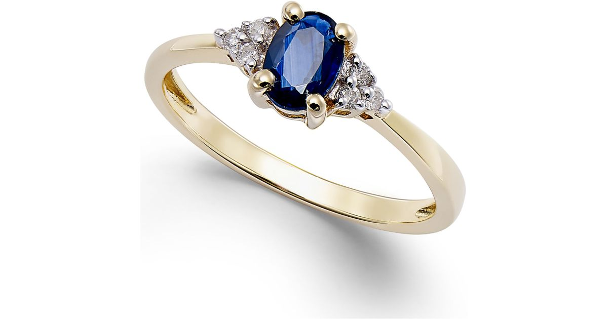Macy s Sapphire 1 2 Ct T w And Diamond Accent Ring In 10k Gold in Blu