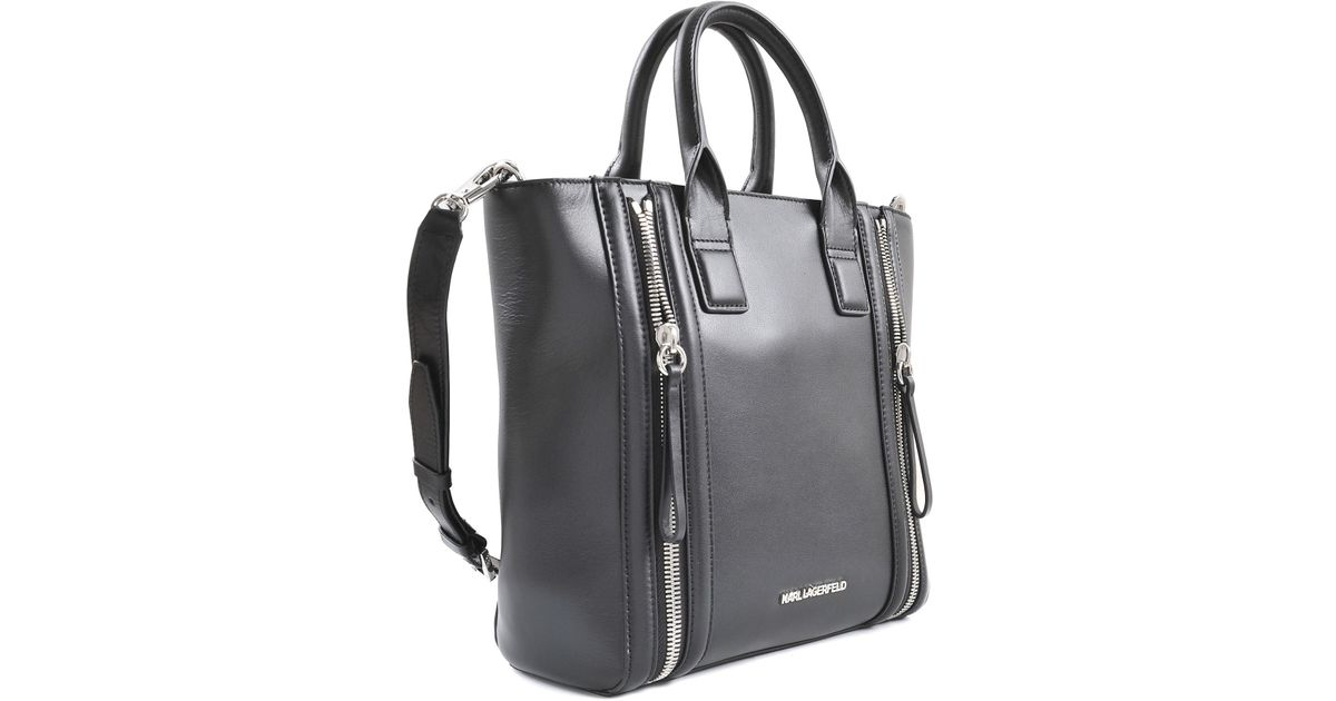 Karl Lagerfeld Karl Zip Mini Shopper Tote in Black - Lyst 7367f59e7