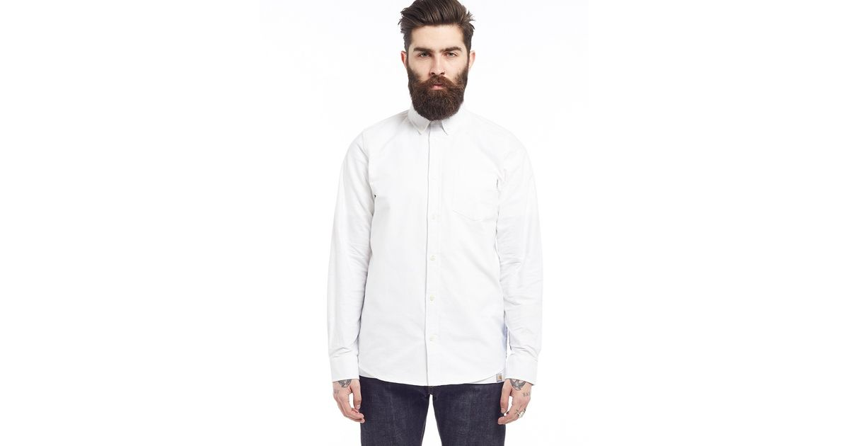 Carhartt wip long sleeve porter shirt white in white for for Carhartt long sleeve t shirts white