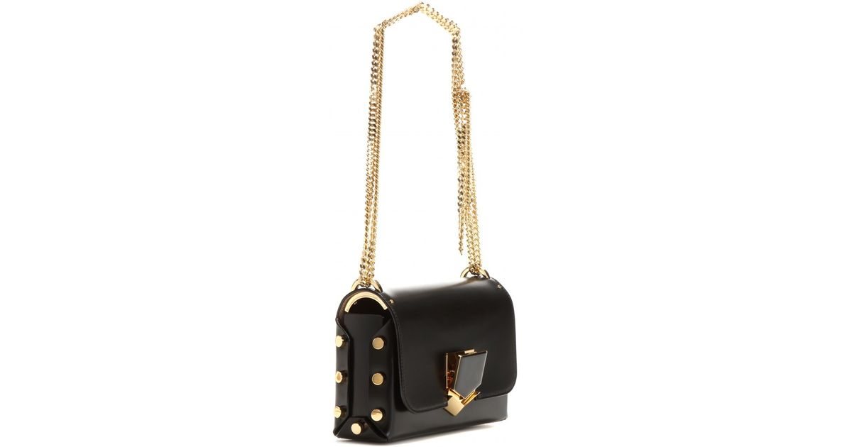 fcece94e9ca Jimmy Choo Lockett Petite Leather Shoulder Bag in Black - Lyst