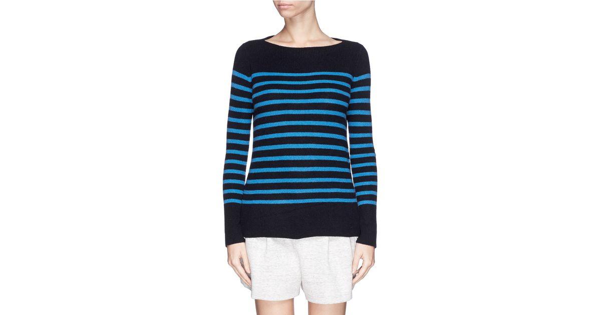 Ribbed Vince Bleu Stripe Sweater Knit Fuqfd qtBqRdg