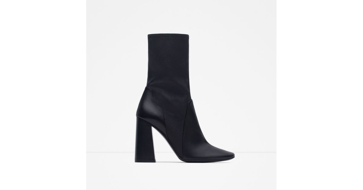 Zara Leather High Heel Ankle Boots in Black | Lyst