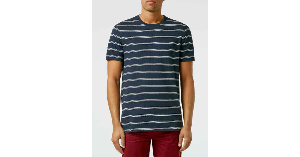 Topman navy white slim stripe t shirt in white for men for Blue white striped t shirt