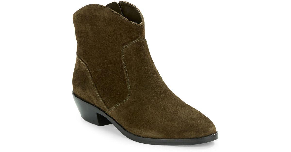via spiga franka suede ankle boots in green lyst