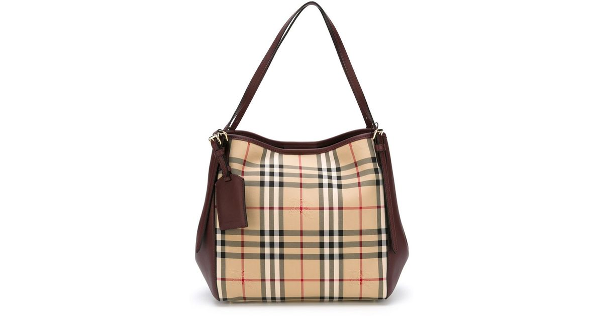 b8e49f4fe53b Burberry Small  canter In Horseferry Check  Tote Bag in Natural - Lyst