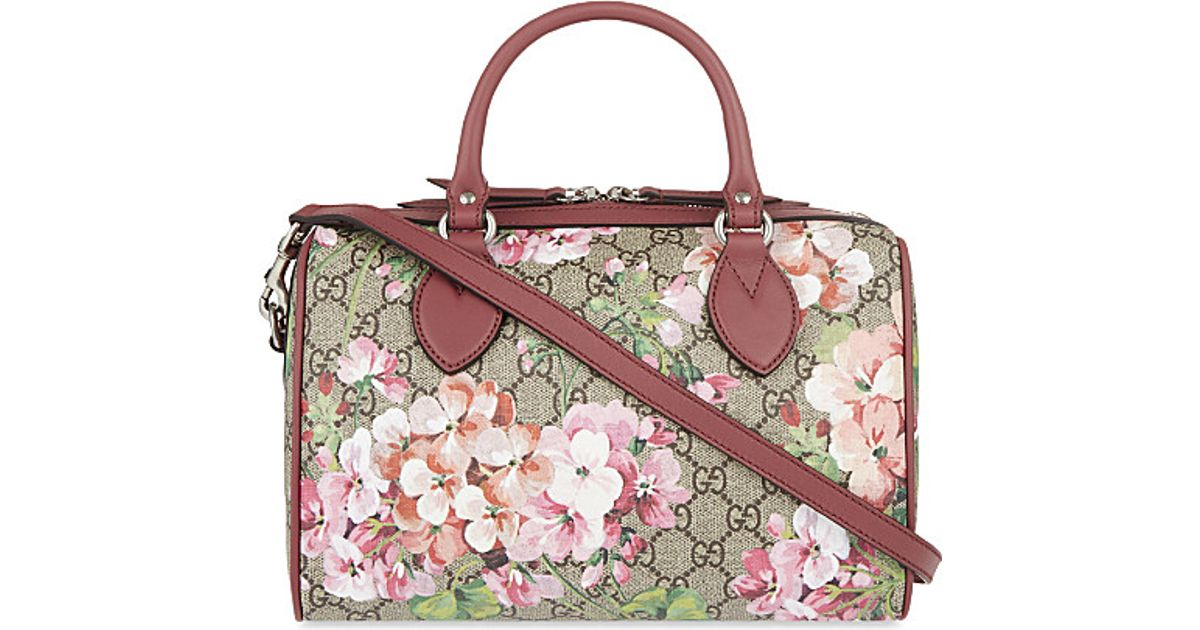 4355b40d9551 Gucci Floral Print Canvas Bowling Bag in Green - Lyst