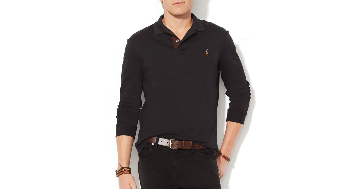 be2480341f6c Lyst - Ralph Lauren Polo Suede-Trimmed Pima Soft-Touch Polo Shirt – Slim Fit  in Black for Men