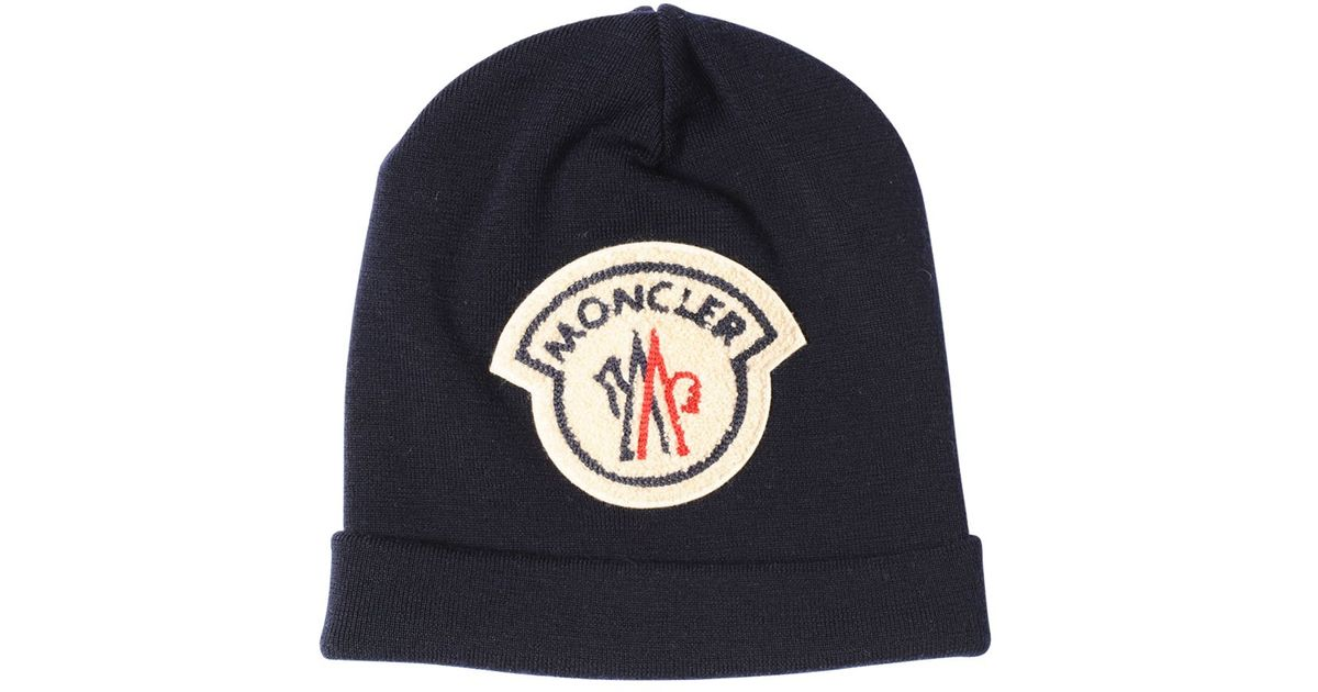 f7e54d4d6f2 Moncler Ami Logo Patch On Wool Beanie Hat in Blue for Men - Lyst