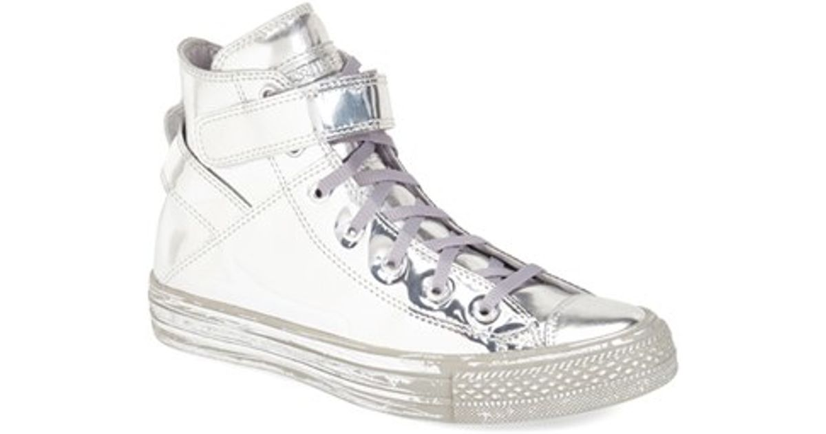 4571e98477bb8d Lyst - Converse Chuck Taylor All Star  brea - Metallic  High Top Sneaker in  White