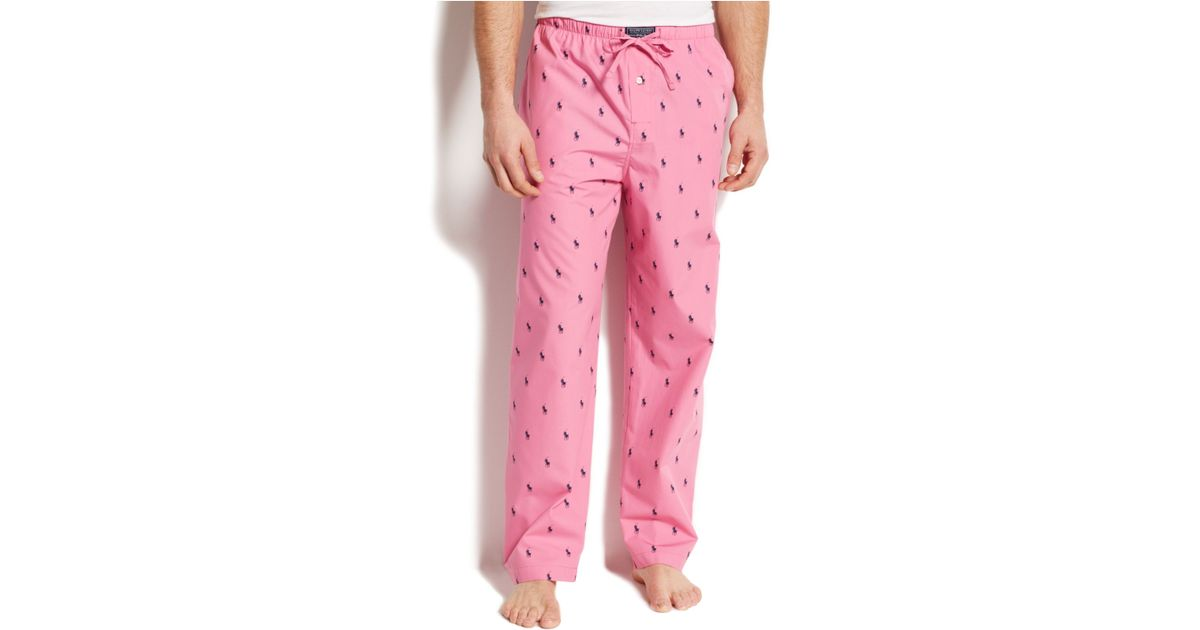 d633f46801530 Lyst - Polo Ralph Lauren Allover Pony Pajama Pants in Pink for Men