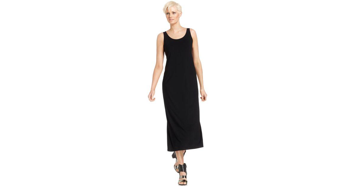 b8464fed555f89 Lyst - Eileen Fisher Sleeveless Scoop Neck Maxi Dress in Black