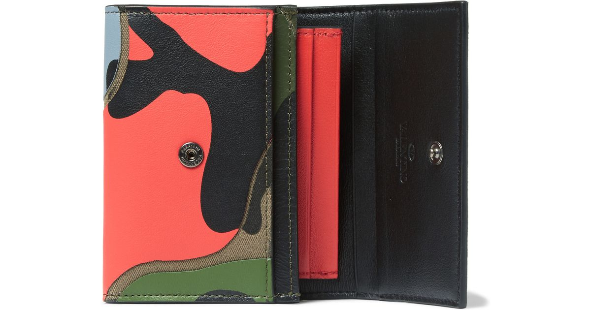 Valentino Camouflage-print Leather Business Cardholder in Green ...