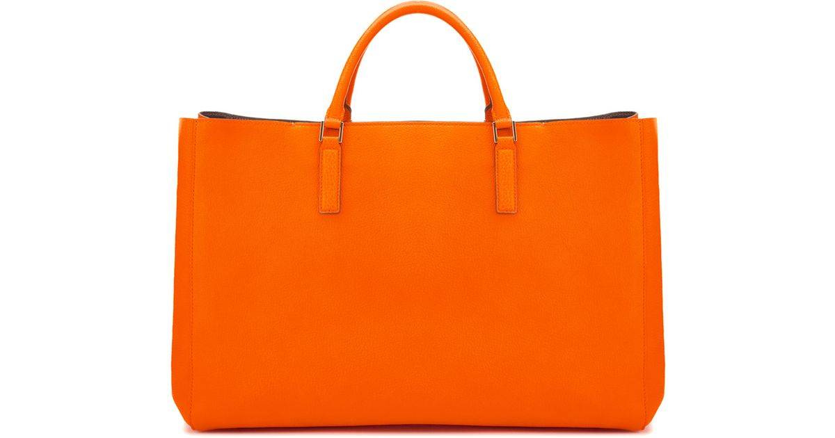 Lyst - Anya Hindmarch Ebury Maxi Smile Tote Bag in Orange 1a5b6d6d67c47