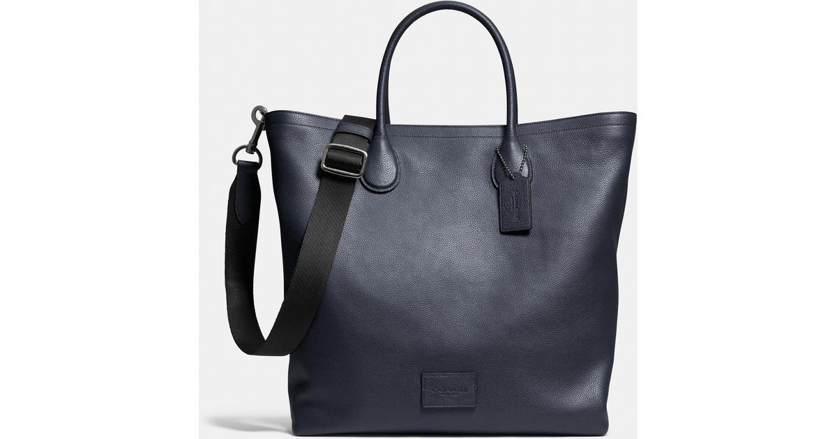 f60b36e9eb7a COACH Mercer Tote In Pebble Leather in Black - Lyst