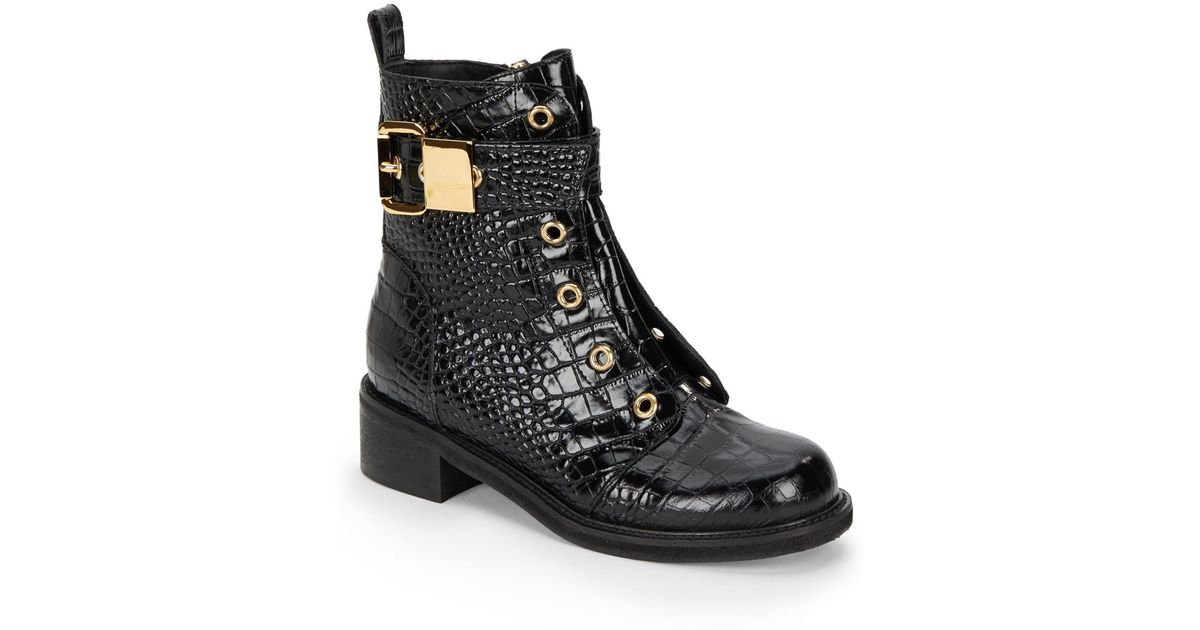 731bba731b6e Lyst - Giuseppe Zanotti Crocodile-Embossed Leather Ankle Boots in Black