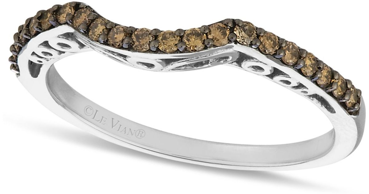 le vian chocolate wedding band 1 4 ct t w in