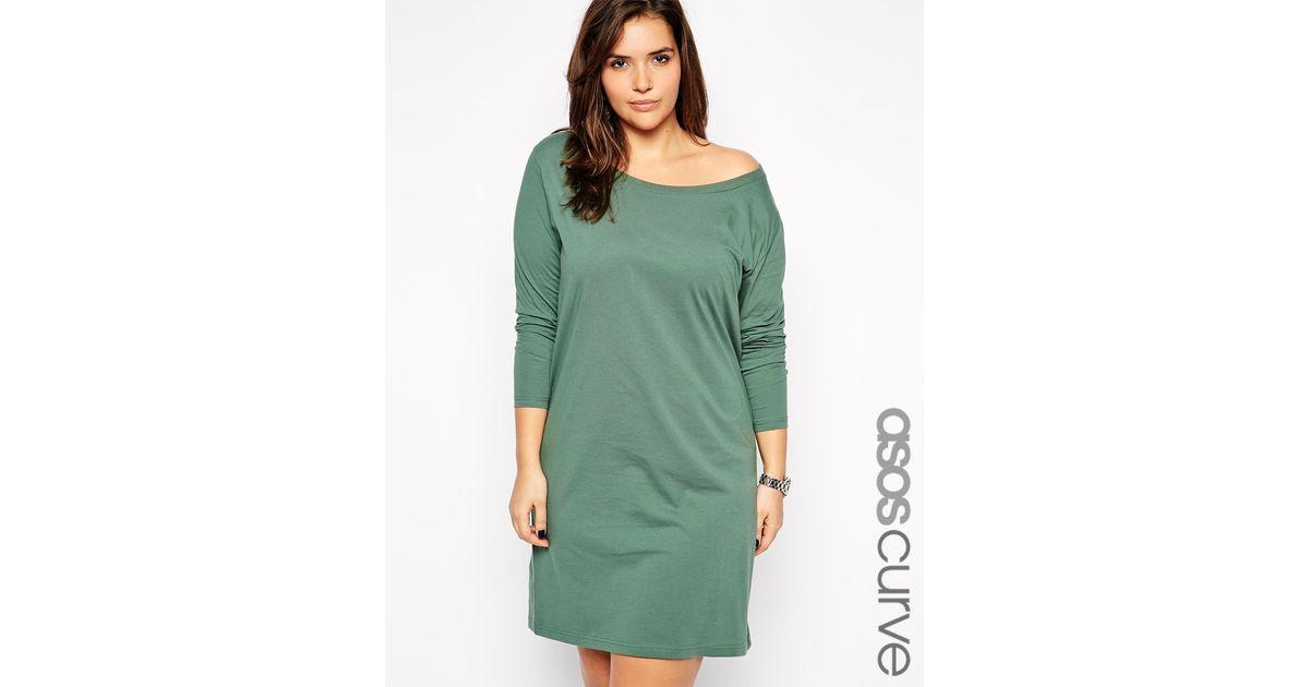 2b60599b69b3 Lyst - ASOS Exclusive Off Shoulder T-Shirt Dress in Green