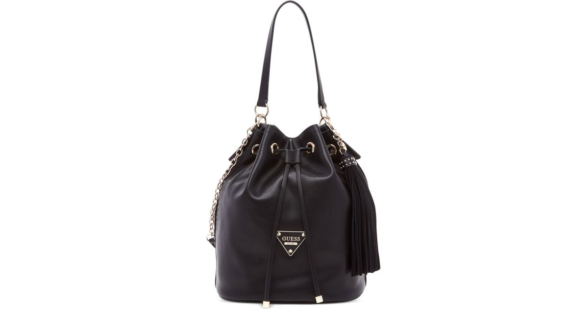 Guess Thompson Drawstring Bucket Bag in Black