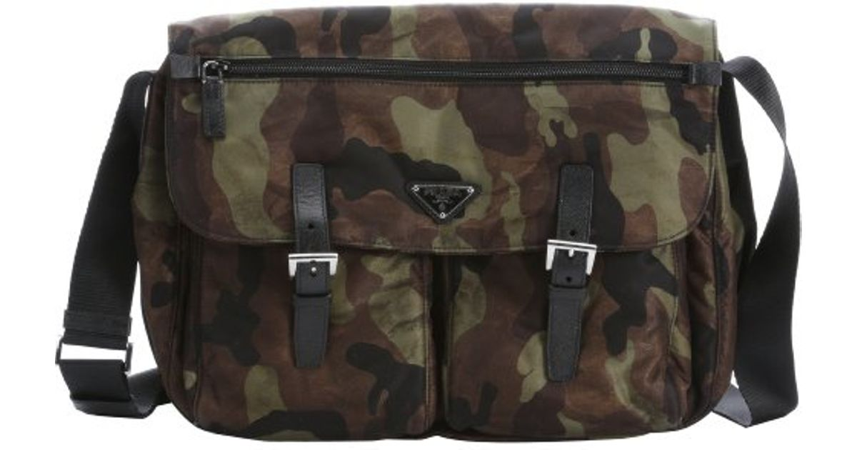 53d1ede0cc9f ... 50% off lyst prada green and black camouflage nylon flap front messenger  bag in green