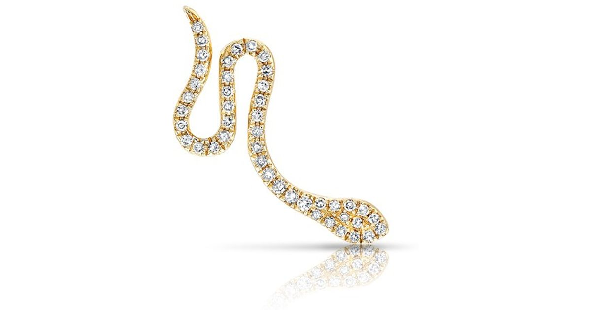 a2882f3e4 Lyst - Anne Sisteron 14kt Yellow Gold Diamond Snake Ear Cuff in Yellow